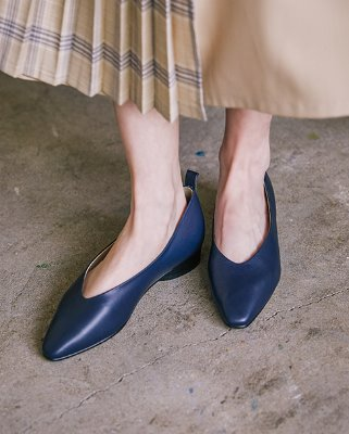 soft leather flat_navy