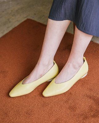 soft leather flat_lemon
